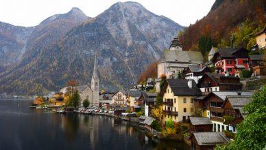 paisaje de un poblado nórdico europeo