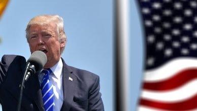 Donald Trump hablando con un micrófono y alzando su puño