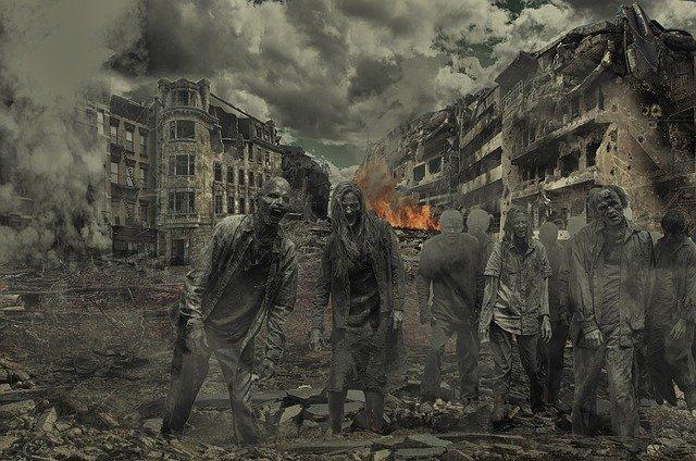escena de zombies de una películas de zombies