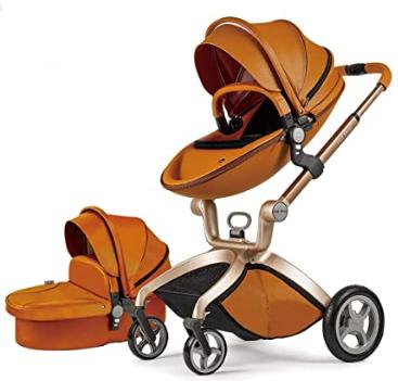 carrito marrón de piel para bebé