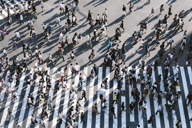personas andando por un paso de zebra