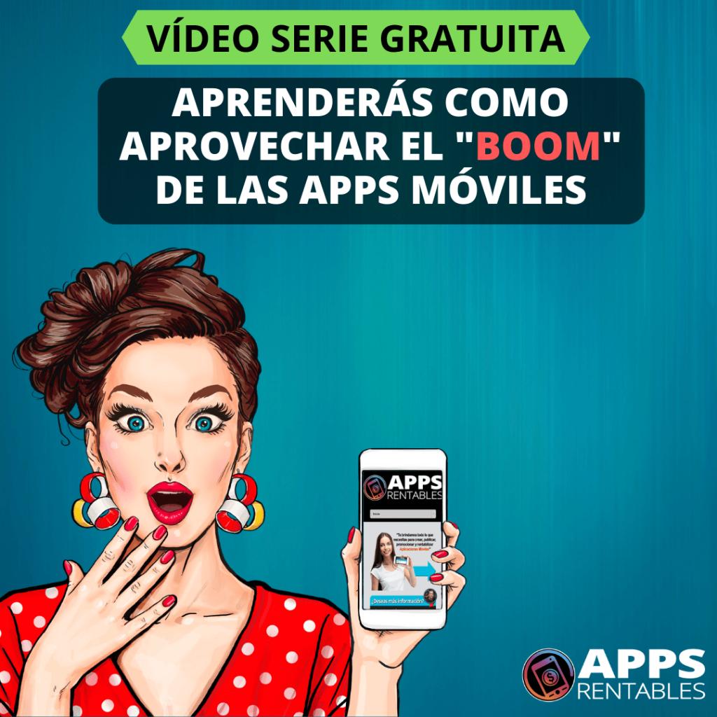 mujer en formato dibujo mostrando su móvil y la página web de apps rentables
