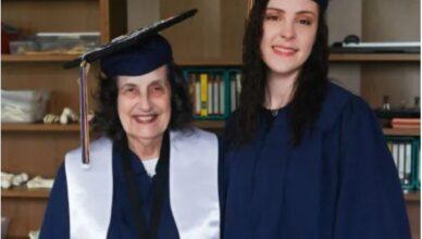 joven y abuela se gradúan juntas