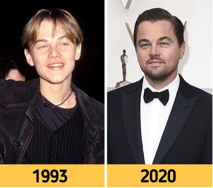 Leonardo DiCaprio de joven y en la actualidad